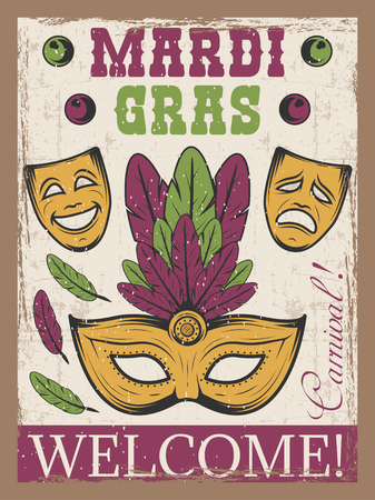 Mardi gras colored vintage poster with carnival mask and theatre mask.