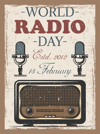 World radio day colored vintage poster with retro radio and mocrophone.
