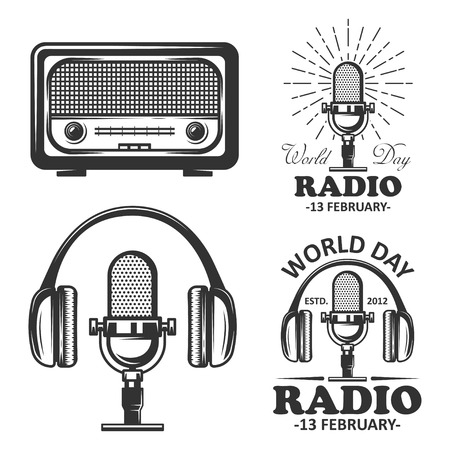 World radio day set of vector vintage emblems. Radio, microphone, headphone objects in monochrome vintage style. Vectores
