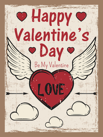 Valentines day colored vintage poster with heart with arrow and wings, clouds. Valentines day greeting card template.