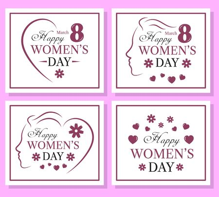 Happy Womens Day set of template card.