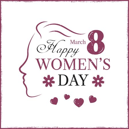 Happy Women's Day template card. Template postcard.