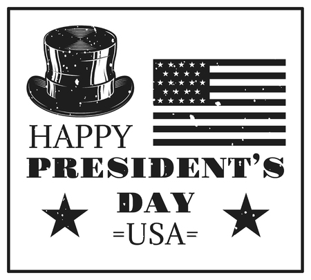 Happy presidents day card in vintage monochrome style 矢量图像