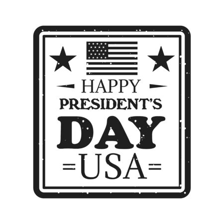 Happy presidents day emblem in vintage monochrome style Vectores