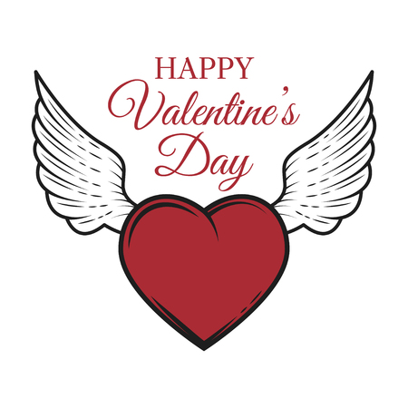 Valentines day card with heart and wings.