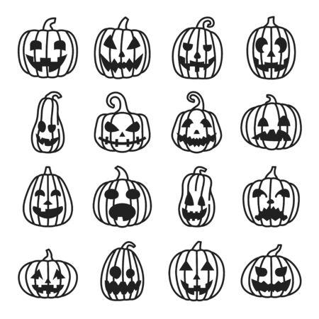 Ensemble d'icônes de ligne Halloween citrouille, visages drôles et effrayants. Vecteurs