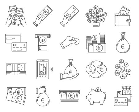 Money thin line icons . Euro, Money Tree, ATM, Cash Back, Transfer, Falling, Stack of money in hands .
