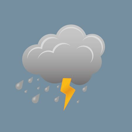 Illustrations with a cloud and lightning and rain Stock Vector - 16798253