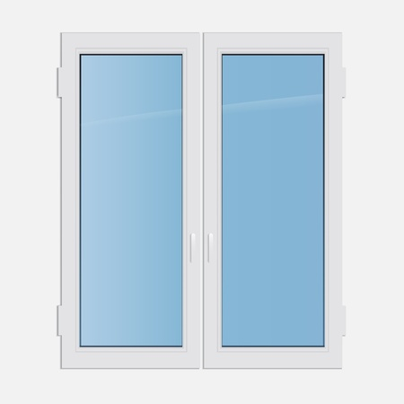 casement: illustration double casement plastic window