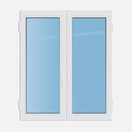 illustration double casement plastic window Stock Vector - 19870165