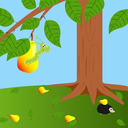 illustration  color wormy pear and worm