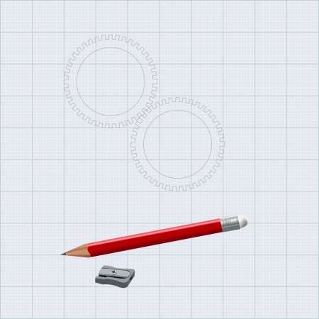 gearings: The figure shows the gear and pencil with sharpener
