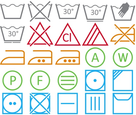 textile care symbol: icon set of washing signs and care label. Illustration