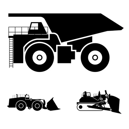 bulldozer: Symbol and a bulldozer and dump truck Illustration