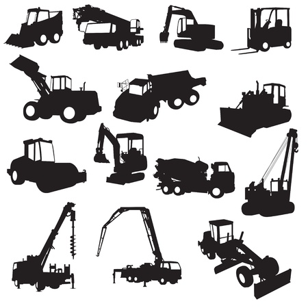 grader: Silhouette of construction machines