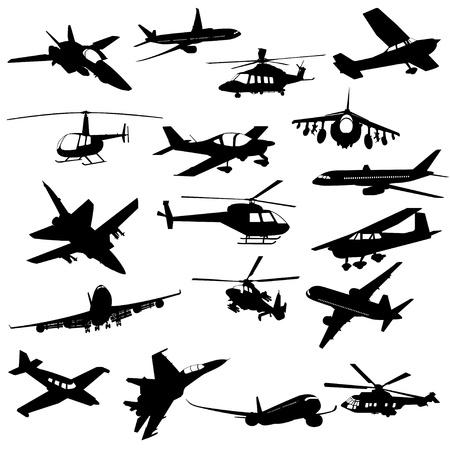 실루엣 헬기 전투기