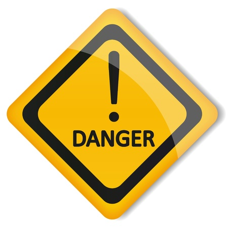 warning signs: illustration label exclamation mark