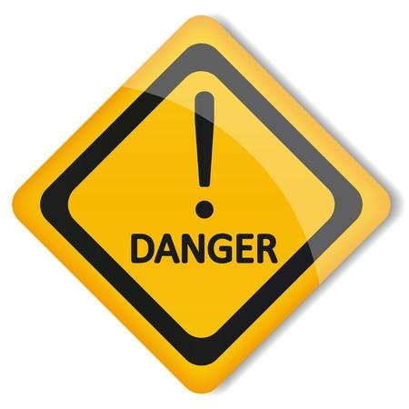 señales preventivas: ilustración label signo de exclamación