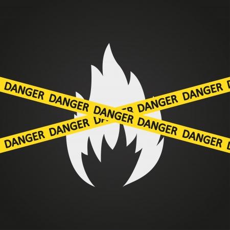 illustration danger tape flammable Stock Vector - 19870317