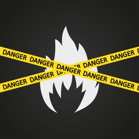 fire safety: illustration danger tape flammable