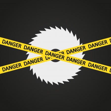 illustration danger tape harp circular saw Vector