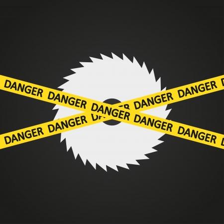 warning saw: illustration danger tape harp circular saw Illustration