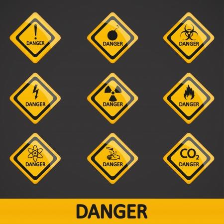 illustration set label danger Stock Vector - 19870446