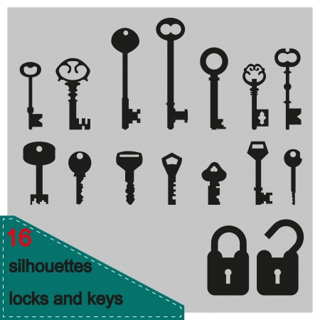 house keys: illustration silhouette of keys and locks Illustration