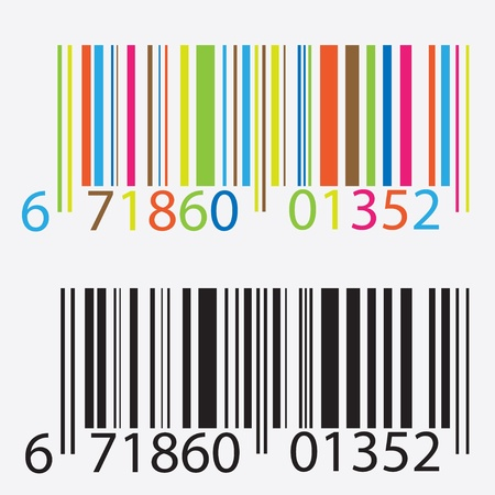 bars code: Black and colored barcode illustration.