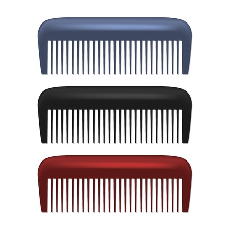 hair cutting: Colorful Combs isolated on white background