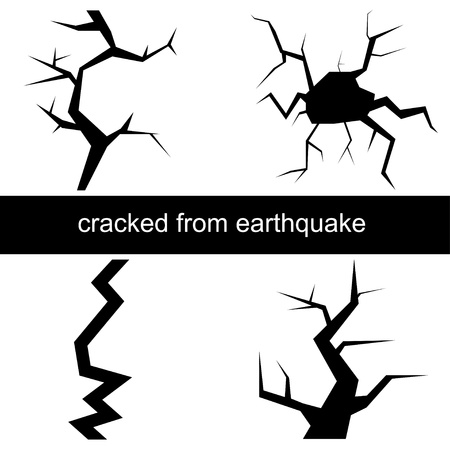 cracked earth: illustration of a crack from the earthquake Illustration