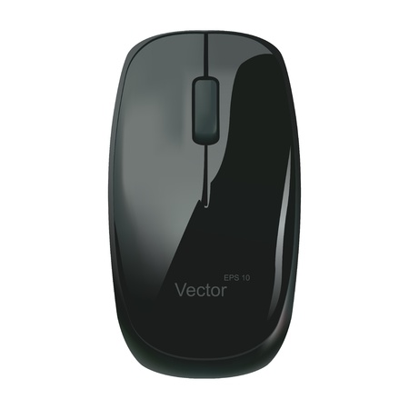 computer part: illustrations black computer mouse on a white background