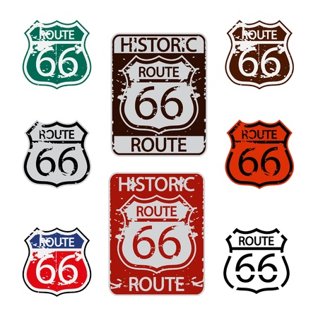 famous place: Route 66 sign set Illustration
