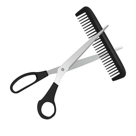 razor blade: illustration scissors and comb for hair isolated on white
