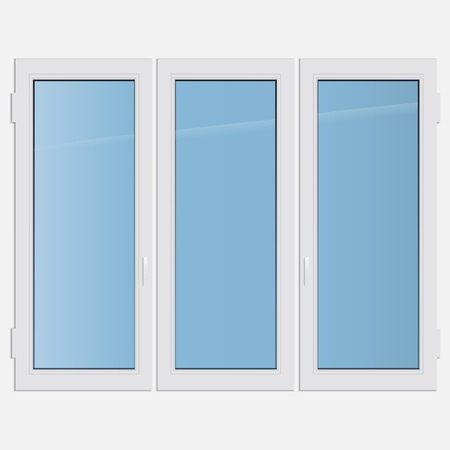 casement: illustration triple casement plastic window Illustration