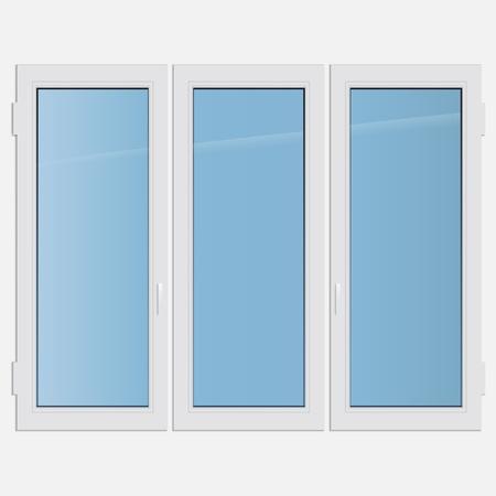 triple: illustration triple casement plastic window Illustration