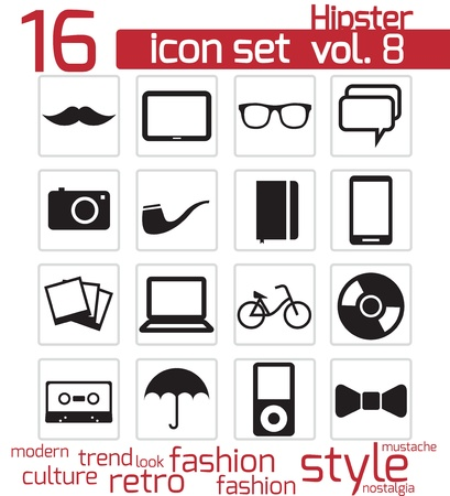 Hipster icon set Stock Vector - 20024091
