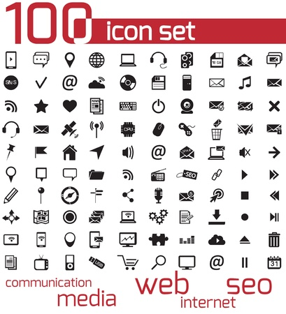 icons site search: Vector black 100 web and media icons set