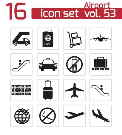 Vector black airport icons set Stock Vector - 21959672