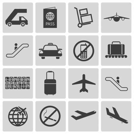 Vector black airport icons set Stock Vector - 21959674