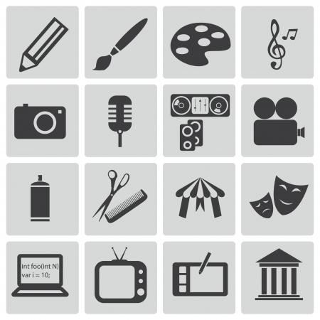 iconos de música: Vector negro iconos del arte establecen