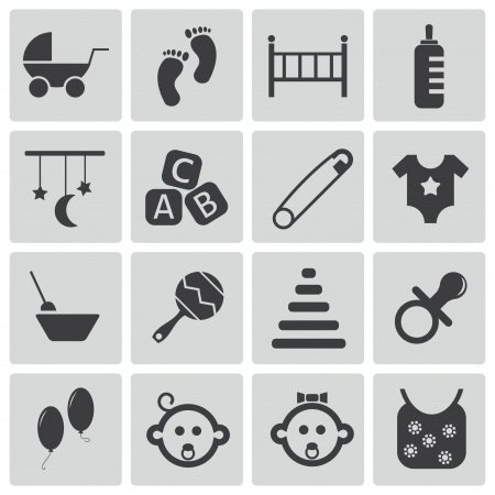 black baby boy: Vector black baby icons set