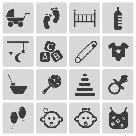 Vector black baby icons set Stock Vector - 21959682