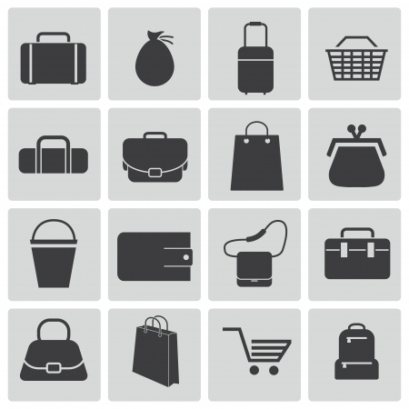 business bags: Vector black bagicons set
