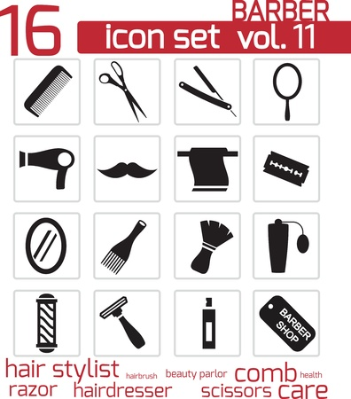 hairdryer: Vector black barber icon set
