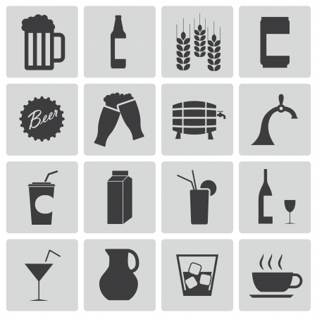 Vector black beer and  beverage icons set Vector