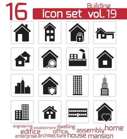 architecture pictogram: Vector black building icon set Illustration
