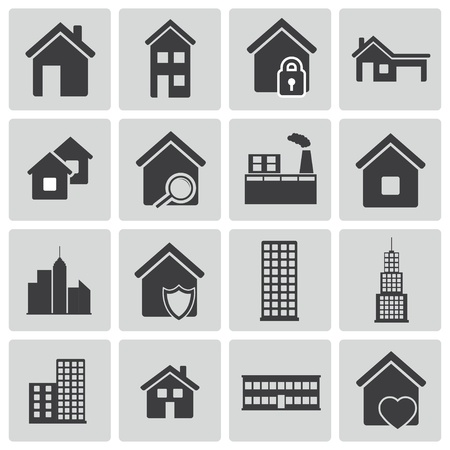 Vector black building icons set Stock Vector - 21959687