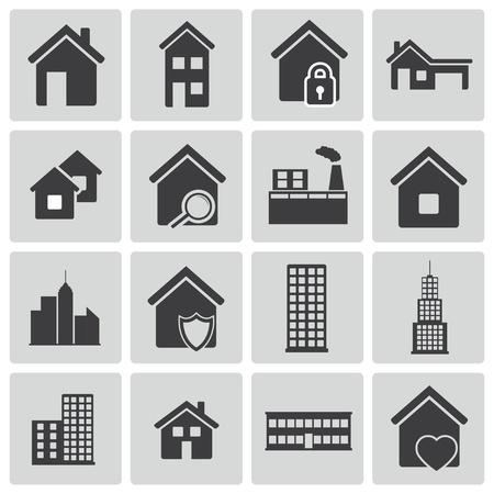 Vector black building icons set Stock Vector - 21959687