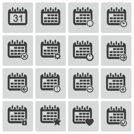 weekdays: Vector black calendar; icons set
